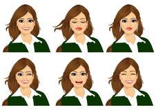 set of female avatar expressions stock illustration