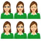 set of female avatar expressions Stock Images