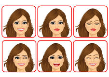set of female avatar expressions Royalty Free Stock Photography
