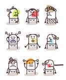 Set of female avatars - bad moods. Set of female avatars Stock Image