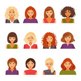 Set of female avatars. Collection of female avatars with different types of appearance. Hairstyles of women. Vector illustration Royalty Free Stock Photography