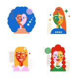 Set of female avatars in the style of geometry. Abstract female faces with different shapes on white background. Original collection with girls Stock Illustration