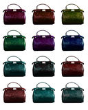 Set of female bags of different color Stock Photography