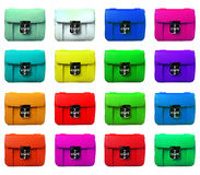 Set of female bags of different color Royalty Free Stock Photos