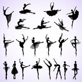 Set of female ballet. Set of female silhouettes of ballet dancers Stock Photos