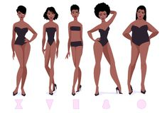 Set of female body shape types - five types. African american women. Vector cartoon illustration Royalty Free Stock Photography