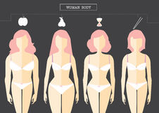 Set of female body shape Types, illustrations Stock Photo