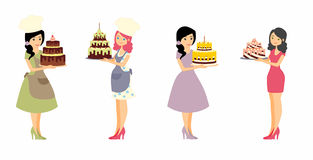 Set of female characters with a cake. Beautiful housewife, woman master baker holding a delicious pie. Royalty Free Stock Photos