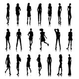 Set of female clothes. Set of female silhouettes in modern clothes Stock Photos
