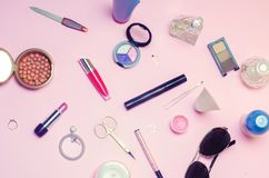 A set of female cosmetics, fashion, style, accessories, glamor, elegance. top view flat lay.  Royalty Free Stock Images