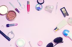 A set of female cosmetics, fashion, style, accessories, glamor, elegance. top view flat lay.  Stock Photo