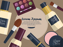 Set of female cosmetics on a table with place for your text. Vector Royalty Free Stock Photo