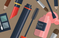 Set of female cosmetics on a table with place for your text. Vector Stock Images