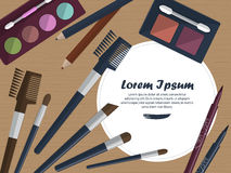 Set of female cosmetics on a table with place for your text. Vector Stock Photos
