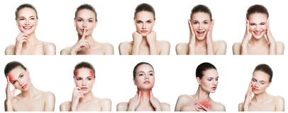 Set of female disease and health. Collage of young woman Stock Image