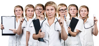 Set of female doctor with different equipment. Royalty Free Stock Images
