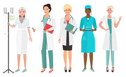 Set of female doctors in different poses. Woman doctor nurse. Vector illustration. Royalty Free Stock Photography