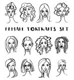 Set of female doodle hand drawn portraits. Black and white Stock Photos