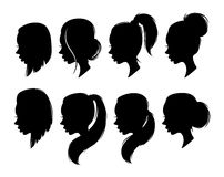 Set of female elegant silhouettes with different hairstyles for design Royalty Free Stock Photo