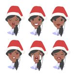 Set of female emoji customer support phone operator in Christmas hat. Callcenter worker with headset. Cartoon vector. Set of emoji customer support phone Stock Images