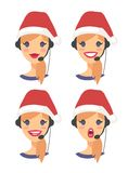Set of female emoji customer support phone operator in Christmas hat. Callcenter worker with headset. Cartoon vector. Illustration woman agent Stock Photos