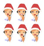 Set of female emoji customer support phone operator in Christmas hat. Callcenter worker with headset. Cartoon vector. Illustration asian woman agent Royalty Free Stock Image