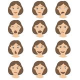 A set of female emotions on face character design cartoon brown-haired hair and a variety of expressions. royalty free illustration
