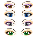 Set of female eyes Royalty Free Stock Photos