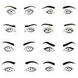 Set of female eyes and brows black image illustration for health glamour design with beautifully fashion eyelashes. Open. Set of female eyes and brows black Stock Photo