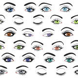 Set of female eyes and brows seamless vector pattern Royalty Free Stock Images