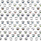 Set of female eyes and brows seamless vector pattern Stock Photo