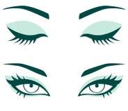 Set of female eyes. Closed and opened female eyes Stock Images