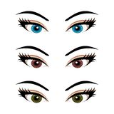 Set female eyes isolated (3) Royalty Free Stock Photography