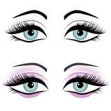 Set of female eyes isolated on white background,  Royalty Free Stock Images
