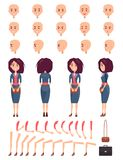 Set of Female Faces Hands and Legs Color Banner. Set of female faces with various emotions, hands and legs, color banner, vector illustration with beauty woman Royalty Free Stock Photography