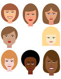 Set of Female Faces stock images