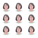 Comix. Set of female facial emotions. Woman emoji character with different expressions Royalty Free Stock Photo