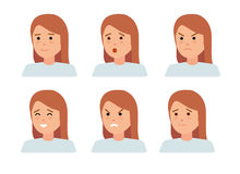 Set of female facial emotions. Woman emoji character with different expressions. Vector illustration in flat cartoon style Royalty Free Stock Photos