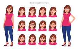 Set of female facial expression. Collection of girl / woman`s emotions. royalty free illustration