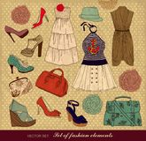 Set of female fashion accessories Stock Image