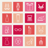Set of female fashion accessories Beauty icons Royalty Free Stock Images