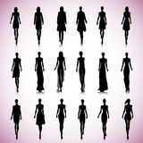 Set of female fashion silhouettes. On the runway Royalty Free Stock Photography