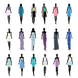 Set of female fashion silhouettes. On the runway Royalty Free Stock Photos
