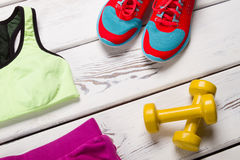 Set for female fitness. Royalty Free Stock Photo