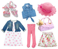Set female girl kid clothes.Isolated. Stock Photography
