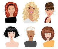 Set of female hair style. Vector collection. Illustrations of beautiful young girls with various hair style Royalty Free Stock Photos
