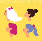Set of female hairdo. Women avatars with different hairstyles. Heads in profile vector illustration