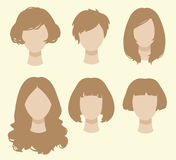 Set of female hairstyles. Set of simplicity female hairstyles Royalty Free Stock Photos