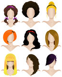 Set of female hairstyles Stock Images