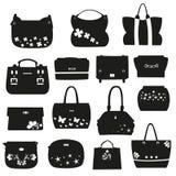 Set of female handbags with flowers Stock Photo
